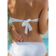 Color Sólido Cintura Baja Sin Mangas De Moda Bikinis Trajes de baño