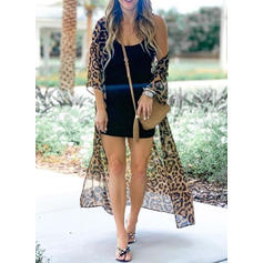 Leopard Mesh V-Neck Sexy Cover-ups Swimsuits
