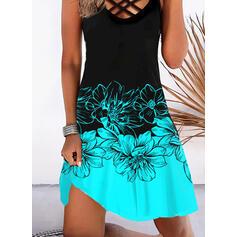 Impresión/Floral/Trozos de color Sin mangas Vestidos sueltos Hasta la Rodilla Vacaciones Vestidos