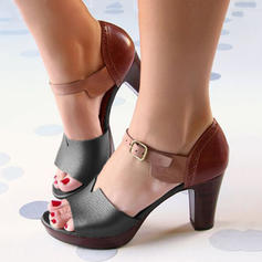 Women's PU Chunky Heel Sandals Pumps Peep Toe With Buckle shoes