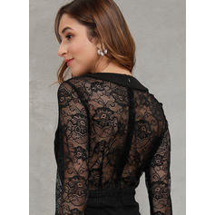 Lace/Solid Long Sleeves Sheath Knee Length Little Black/Party/Elegant Dresses
