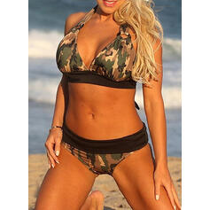 Low Waist Print Halter Sexy Sports Plus Size Bikinis Swimsuits