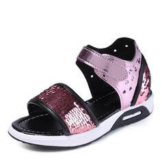 tytön Peep toe tekonahka Flat Heel Sandaalit Matalakorkoiset Flower Girl Kengät jossa Paljetti Tarranauha