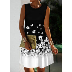 Print/Floral/Color Block Sleeveless Shift Above Knee Elegant Dresses