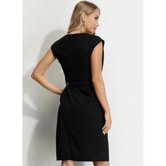 固体 ノースリーブ シースドレス 膝丈 リトルブラックドレス/パーティー ドレス