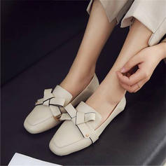 Women's PU Flat Heel Flats Mary Jane With Bowknot shoes