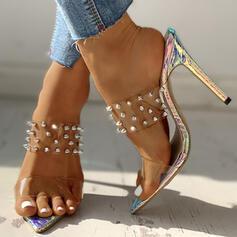 ПУ Шпилька Сандалі Насоси взуття на короткій шпильці Тапочки з Заклепка взуття