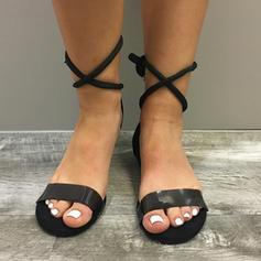 Femmes Suède Talon plat Sandales Chaussures plates À bout ouvert Escarpins avec Dentelle chaussures