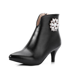Women's PU Spool Heel Pumps Ankle Boots With Rhinestone Zipper shoes