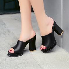 Women's Leatherette Chunky Heel Sandals Pumps Platform Slippers shoes