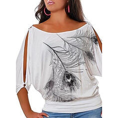 Print Cold Shoulder 3/4 Mouwen Casual Overhemd
