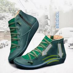 De mujer PU Tacón bajo Botas con Cordones zapatos
