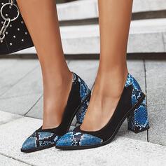 Mulheres PU Salto robusto Bombas com Animal da Cópia sapatos