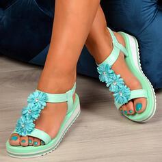 Femmes Similicuir Talon plat Sandales À bout ouvert avec Élastique chaussures