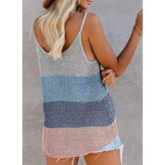 Color Block Spaghetti Strap Sleeveless Casual Sexy Knit Tank Tops