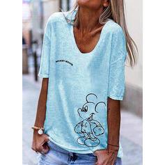 Print V-hals 1/2 Mouwen Casual T-shirts