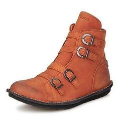 De mujer Cuero Tacón plano Botas con Hebilla zapatos