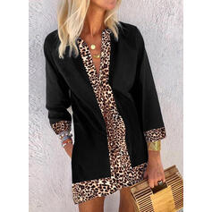 Solid/Leopard 3/4 Sleeves Shift Above Knee Casual Dresses