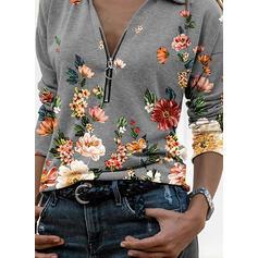 Drucken Blumen Revers Lange Ärmel Freizeit Blusen