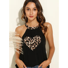 Leopard Heart Print Round Neck Sleeveless Tank Tops