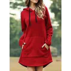 Solid Long Sleeves Shift Above Knee Little Black/Casual Sweatshirt Dresses