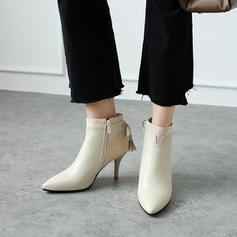 Femmes PU Talon stiletto Escarpins Bout fermé Bottines avec Dentelle Semelle chaussures