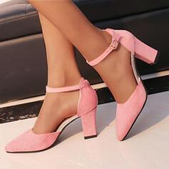 Mulheres Camurça Salto robusto Bombas Saltos com Fivela Cor sólida sapatos