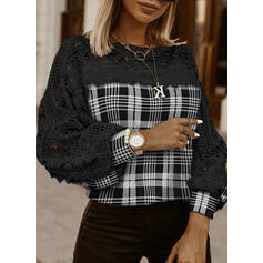 Color Block Lace Round Neck Lantern Sleeve Long Sleeves Casual Blouses