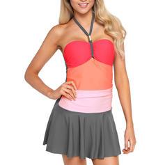 Splice color Halter Sexy Swimdresses Swimsuits