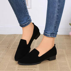 Women's Suede Chunky Heel Flats Pointed Toe shoes