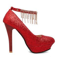 Frauen Funkelnde Glitzer Stöckel Absatz Absatzschuhe Plateauschuh Geschlossene Zehe mit Schnalle Kette Quaste Schuhe