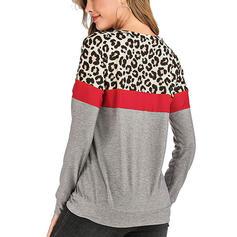 Bloque de color Leopardo Cuello redondo Manga Larga Casual Tejido De Punto Blusas