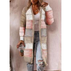 Color Block Casual Long Cardigan