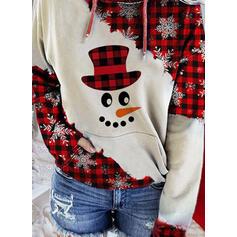印刷 グリッド ポケット 長袖 クリスマス・スウェットシャツ