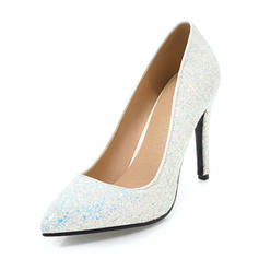 Mulheres Espumante Glitter Salto agulha Bombas Fechados com Lantejoulas sapatos