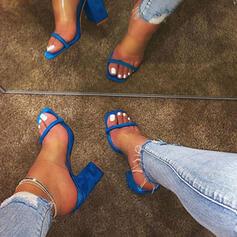 Mulheres PVC Salto robusto Sandálias Peep toe Chinelos sapatos
