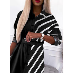 Color Block/Striped Long Sleeves Sheath Above Knee Casual Shirt Dresses