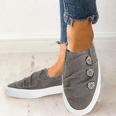 Women's Canvas Flat Heel Flats With Button shoes