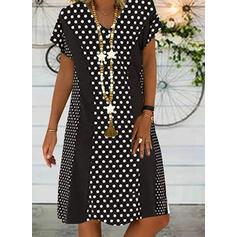 Print/PolkaDot Short Sleeves Knee Length Casual Tunic Dresses