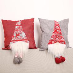 Fröhliche Weihnachten Langes Bein Leinen Kissenbezug