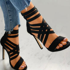 Women's PU Stiletto Heel Sandals Pumps Heels With Zipper Hollow-out Solid Color shoes