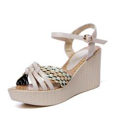 Dla kobiet PVC Obcas Koturnowy Sandały Koturny Otwarty Nosek Buta Bez Pięty Z Plecione Ramiączko obuwie