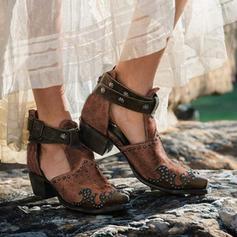 Жіночі ПУ Квадратні підбори Бокові черевики з Пряжка взуття