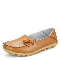 Kvinder Ægte Læder Flad Hæl Fladsko med Bowknot sko