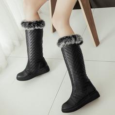Femmes Similicuir Talon plat Bottes avec Fausse Fourrure chaussures