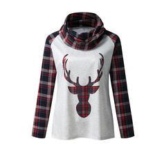 Stampato Animale Alto collo Maniche lunghe Natale Camicie