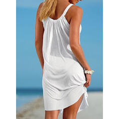 Solid Color Round Neck Fresh Plus Size Boho Cover-ups Swimsuits