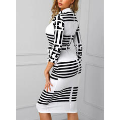 Print/Striped Long Sleeves Bodycon Knee Length Casual/Elegant Pencil Dresses