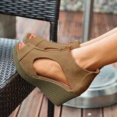 Donna Camoscio Zeppe Sandalo Punta aperta con Cerniera scarpe