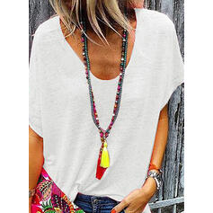 Solid V-Neck Short Sleeves Casual Knit T-shirts